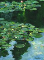 """Afloat"" acrylic on canvas paper, plein aire painting, Giverny, France, Monet's Garden [private collection]"