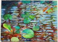 """Reflections, Light, Koi"" aquarelle sticks on paper, 22x30 inches, 56x76 cm [collection of Public Library, Lexington, KY, USA]"