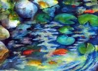 """Koi Pool Cool"" watercolour and aquarelle stick, 18x24 inches, 46x61 cm [collection of artist]"