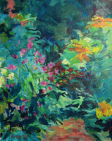 """Baudy Garden"" acrylic on canvas paper, plein aire painting, Giverny France, [private collection]"
