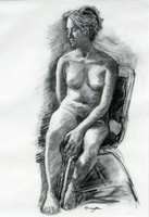 """Mujer"" charcoal drawing done in Guanajuato Mexico at first childhood home of Diego Riviera, private collection, Philadelphia, USA"