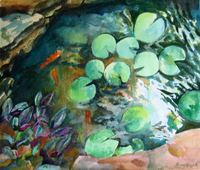 """Cool Koi Pool"" watercolour [private collection, USA]"