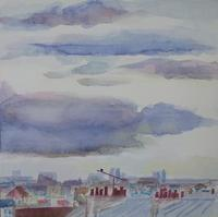 """Paris Rooftops"" Watercolour on panel, private collection, Melbourne, Australia"