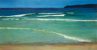 """Summer Sun, Low Tide at Queensie"" oil on canvas, 3x6 ft, 92x183 cm, private collection, Sydney, Australia"