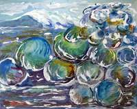 """Wave Bubbles,"" Inks on clayboard panel, 41x51cm, 16x20 inches, private collection, North Manly, Australia"