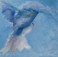 """Kookaburra Departure"" oil on canvas, 61 x 61 cm, 24x24 inches [private collection, Melbourne]"