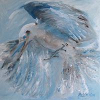"""Kookaburra Grab"" oil on canvas, 61 x 61 cm, 24x24 inches [private collection, Washington, DC]"