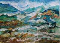 """Waves Over Rocks"" acrylic ink and salt on paper, framed under glass [private collection, Sydney region]"