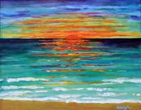 """Sea Light Sunrise"" oil on panel,30x38 cm, 12x15 inches, private collection, Australia"