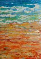 """Golden Sands"" acrylic ink on handmade paper on board"