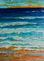 """Windy Waves"" acrylic ink on handmade paper on board"
