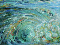 """One Wave"" acrylic inks on handmade paper, mounted on stretched canvas"