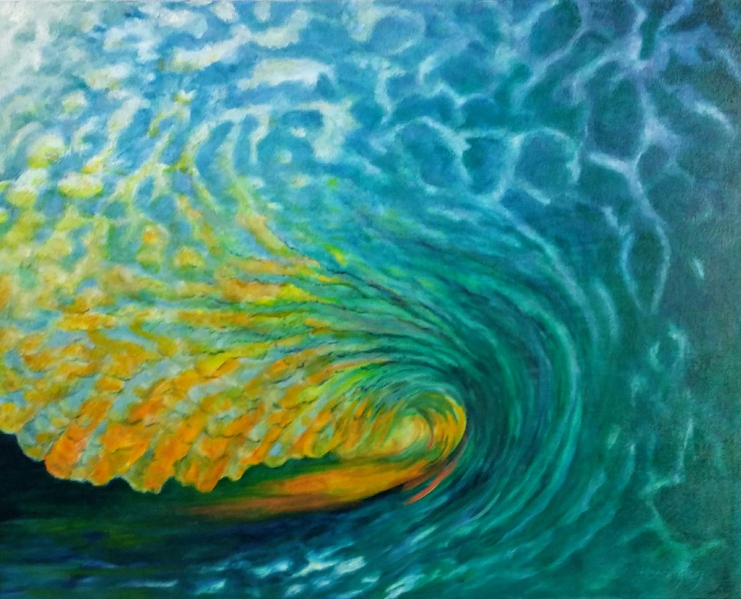 """Daybreak Wave"" oil on canvas, 61x76 cm, 24 x 30 inches [private collection, Sydney, Australia]"