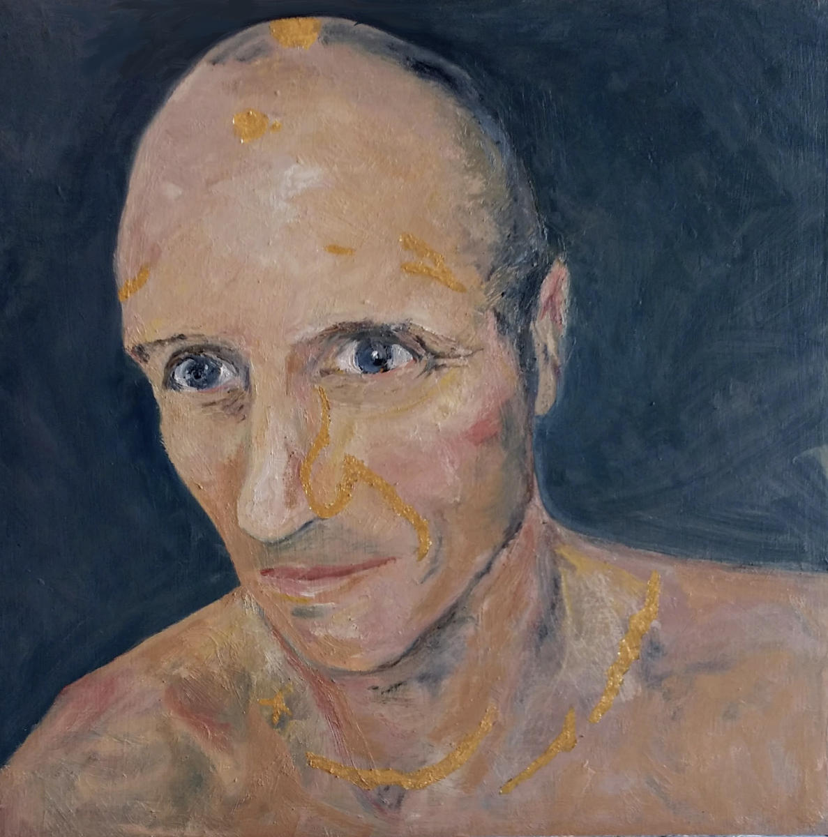 """Paul, Kintsugi Man"" oil on board, commission, Alice Springs, Australia"