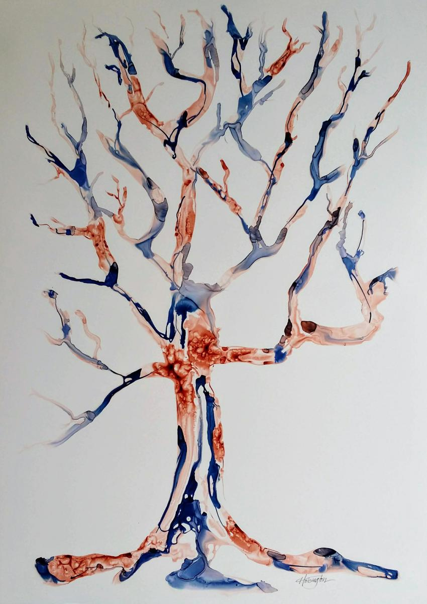 """Burnt Umber and Blue Tree,"" Inks on Yupo paper, 92x61 cm, 36x24 inches"