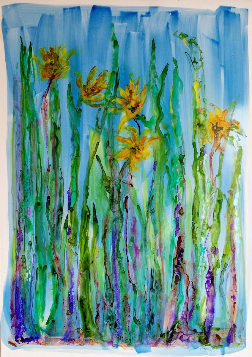 """Crazy Daisies,"" Archival inks on yupo paper, 92x61 cm, 36x24 inches"