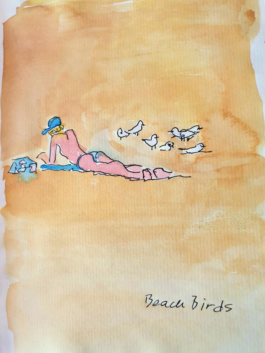 """Beach Birds"" Manly Beach Australia; private collection, Amsterdam, the Netherlands"