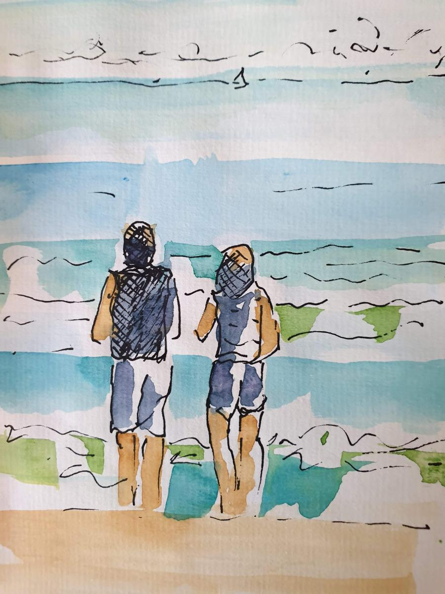 """Wave Watchers"" Manly Beach, Australia; framed, available in studio"