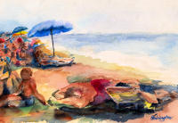 """Beached"" watercolour, collection of the artist"