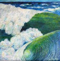"""Dream of Wave Mountain"" oil pastels on board, 61x61 cm, 24x24 inches, in studio, Sydney"