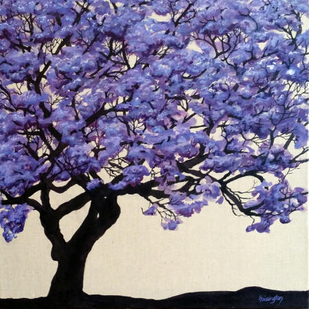 """Jacaranda"" acrylic inks on linen, 51x51 cm, 24x24 inches, private collection, Australia"