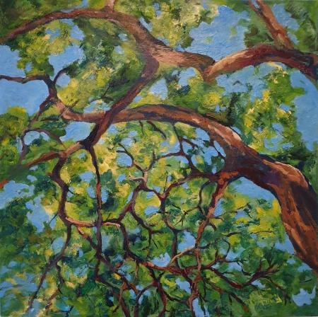 """Branch Lace,"" oil on canvas, 16x61 cm, 24x24 inches, private collection, Washington DC, USA"