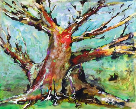 """The Old Coral Tree,"" acrylic ink on panel board, 41x52 cm, 16x20 inches; private collection, Germany"