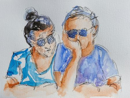 """Two in Sunglasses"" France; private collection, Canberra, Australia"
