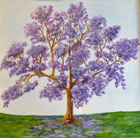 """Jacaranda, Young & Strong,"" inks on canvas, 91x91 cm. private collection, Australia"